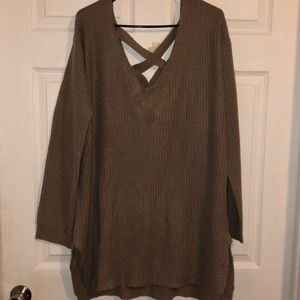 Brown/tan oversized knit sweater NWOT